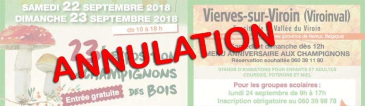 "Annulation du weekend ""Champignons des bois"""